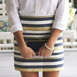 J.Crew striped metallic Gold mini holiday skirt
